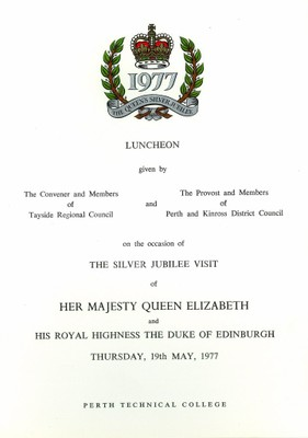 Luncheon menu, on the occasion of the silver jubilee visit of HM Queen Elizabeth II