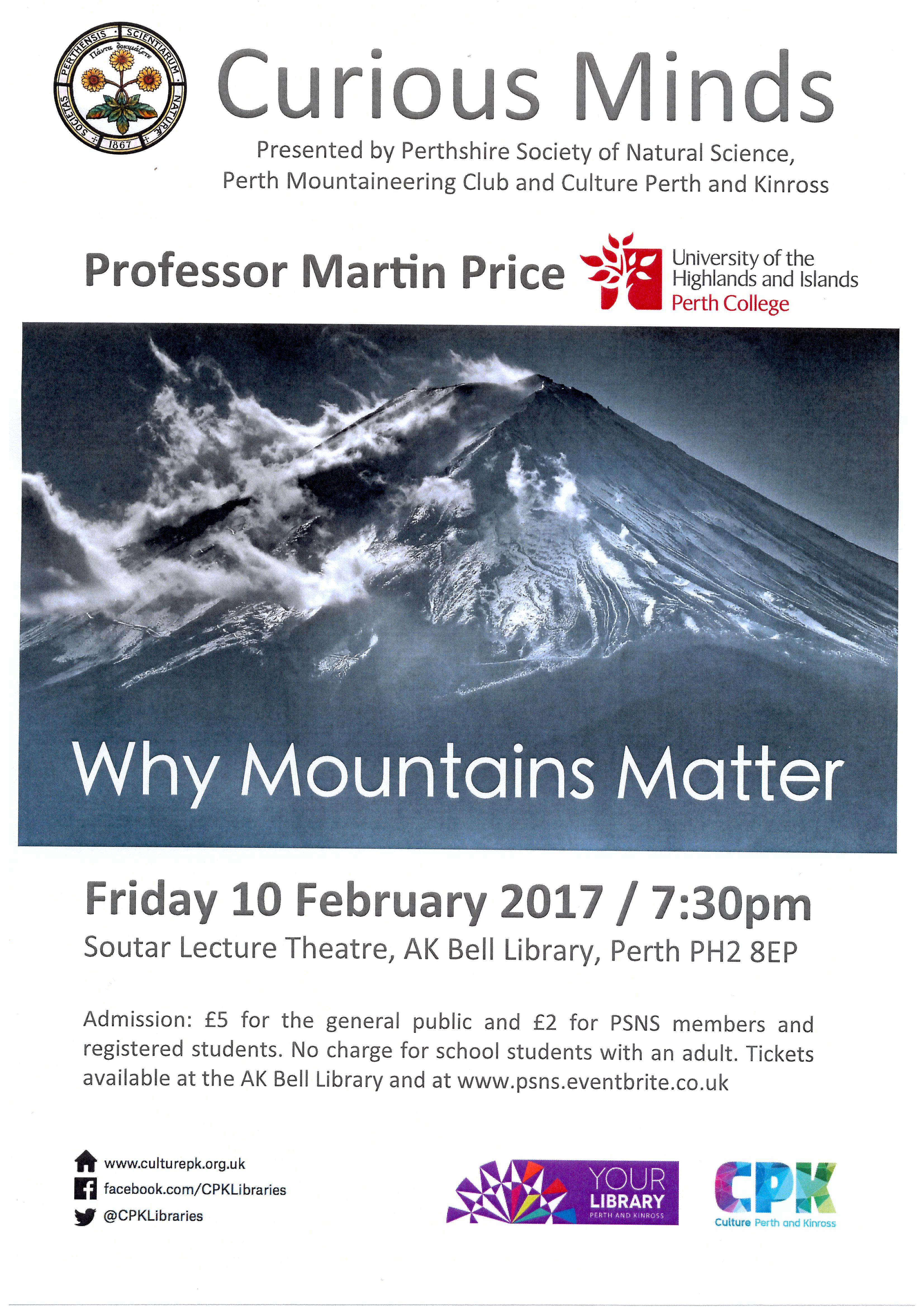 'Why Mountains Matter' a public lecture by Prof Martin Price